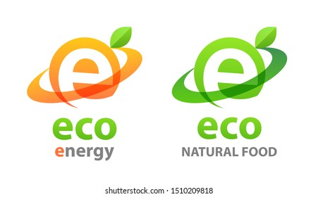 Eco energy logo and eco food. Green vector emblems with leaves on white illustrating a natural and eco-friendly product.