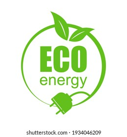 Eco energy logo template with leaves, electric plug, lettering. Energy saving concept. Ecology, renewable alternative energy sources. Vector.