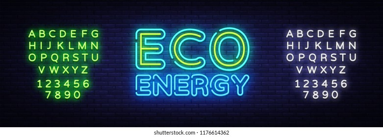 Eco Energy Neon Logo Vector. Green Energy neon sign, design template, modern trend design, night neon signboard, night bright advertising, light banner, light art. Vector. Editing text neon sign