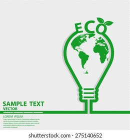 Eco Energy Save Concept Element Template with Map and Lamp in Outline Style