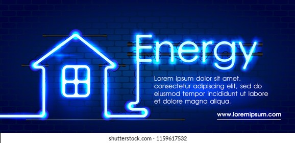 Eco energy saving light bulb, glowing compact fluorescent lightbulb. Energy saving digital design concept of blue glowing neon sign and house. Eco energy banner.