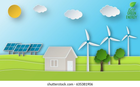 Eco energy vector illustration in paper art style. Green power concept. Solar and wind energy usage.