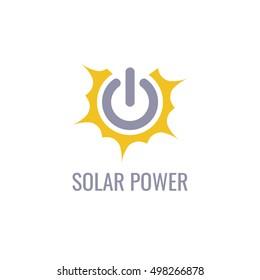 Eco energy vector logo template. Solar energy icon.