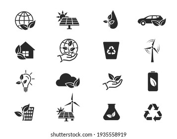eco and environment icon set. eco friendly industry and ecology symbols. isolated vector images in flat style