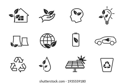 eco and environment line icon set. eco friendly industry and ecology symbols. isolated vector images