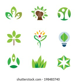 Eco environment logo awareness green tree nature community icon set