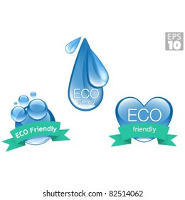ECO environmentally friendly icons, clean bubbles, water drop, heart, logos