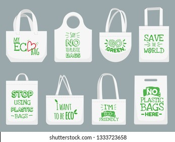 Eco fabric bag. Say no to plastic bags, polythene refuse ban slogan and textile shopping handbag. Shopper, ecological fabric package. Vector isolated illustration icons set