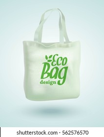 Eco Fabric Cloth Bag Tote Isolated on White Background. Care about the Environment. Vector illustration EPS10