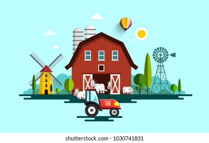 Eco Farm with Barn, Tractor, Windmills and Cows