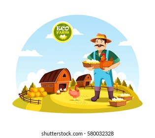 Eco farm with farmer holding eggs and hen near field with barns and hay. Cartoon man or person with organic or natural food near fence or spade, agrarian worker profession. Village, countryside theme