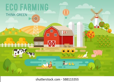 Eco Farming concept with house and farm animals. Vector illustration.