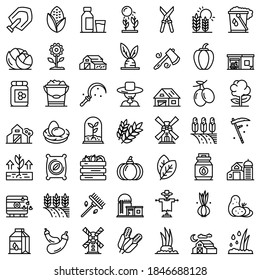 Eco farming icons set. Outline set of eco farming vector icons for web design isolated on white background