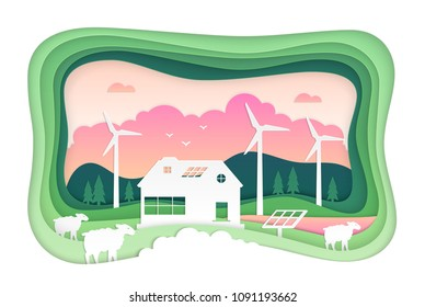 Eco farming - modern vector paper cut illustration. High quality country landscape with windmills, sheep, solar panels, hills, forest. Energy saving concept