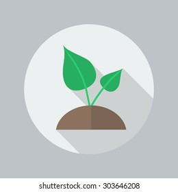 Eco Flat Icon With Long Shadow. Plant