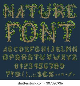 Eco font: alphabet, numbers and symbols in floral hand drawn style, vector EPS8 set