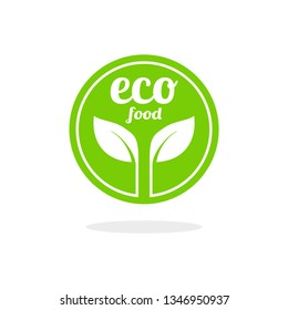 Eco food badge vector logo template. This design with green color and suitable for vegetarian, green and natural.