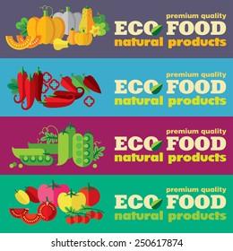 Eco food banners set