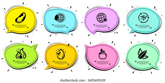 Eco food, Brazil nut and World weather signs. Chat bubbles with quotes. World water, Fire energy and Wind energy line icons set. Water drop, Sunflower seed symbols. Aqua drop, Flame. Vector
