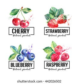 Eco food labels set. Watercolor hand drawn sketch berries. Farmers market logo banners. Vector illustration