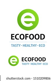 Eco food logo isolated on white. Round vector emblem for cafe with Vegan or Vegetarian menu. Green Logotype template with caption.