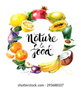 Eco food menu background. Watercolor hand drawn fruits. Vector illustration