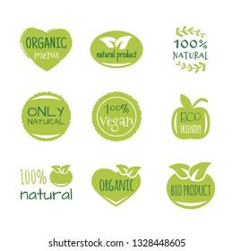 Eco food, organic bio products, eco friendly, vegan icons, ecology. Set of vector logo design elements