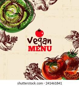 Eco food vegan menu background. Watercolor and hand drawn sketch vegetable. Vector illustration