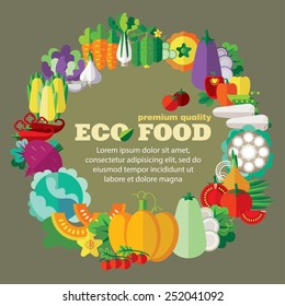 Eco food (vegetables). Vector designed template with space for your text. Flat design