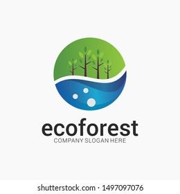 Eco forest logo template design