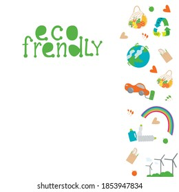 Eco frendly concept. Hand drawing eco flyer isolated on white background. Vector stock illustration.