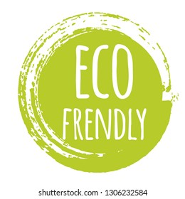 Eco eco frendly label, round grunge logo, sticker for natural products packaging. Vector illustration for your design