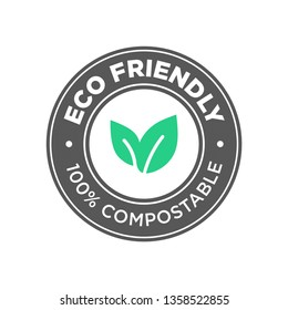 Eco Friendly. 100% Compostable icon. Round green and black symbol.