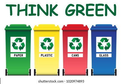 Eco friendly bins isolated on a white background