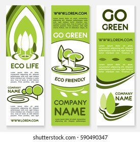 Eco friendly business banner template set. Bio green company poster and flyer with trees, plants, leaves emblems and text layout for ecology, environment and business presentation design