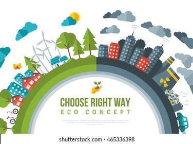 Eco Friendly, Choose RIght Way Concept Frame. Vector Flat Illustration. Solar Green Energy Town, Wind Turbine. Dirty City - Factories, Air Pollution, Landfill. Save the Planet, Earth Day.