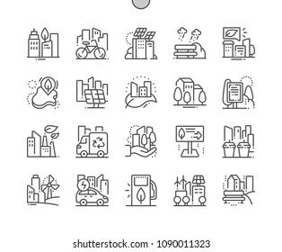 Eco friendly city Well-crafted Pixel Perfect Vector Thin Line Icons 30 2x Grid for Web Graphics and Apps. Simple Minimal Pictogram
