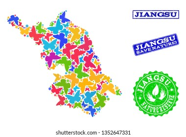 Eco friendly collage of bright mosaic Map of Jiangsu Province and rubber seals with Nature Reserve caption. Mosaic Map of Jiangsu Province designed with bright colored butterflies.