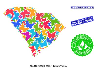 Eco friendly combination of bright mosaic map of South Carolina State and rubber seals with Nature Reserve text. Mosaic map of South Carolina State designed with colorful butterflies.