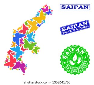 Eco friendly combination of bright mosaic map of Saipan Island and rubber seals with Save Nature text. Mosaic map of Saipan Island designed with bright colored butterflies.