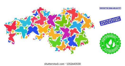 Eco friendly composition of bright mosaic map of North Brabant Province and rubber seals with Save Nature caption. Mosaic map of North Brabant Province constructed with bright colored butterflies.