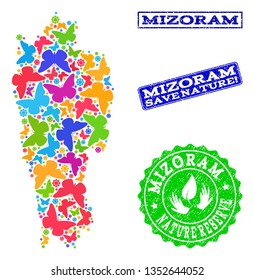 Eco friendly composition of bright mosaic map of Mizoram State and rubber seal stamps with Nature Reserve caption. Mosaic map of Mizoram State constructed with bright colored butterflies.
