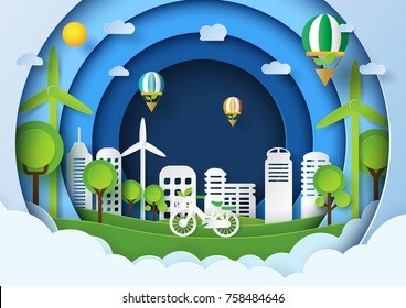 Eco friendly concept design.Paper art style of renewable energy and environment conservation.Vector illustration.