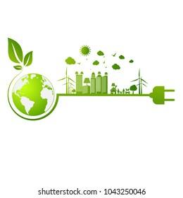 Umweltfreundliches Konzept, grüne Stadt retten die Welt