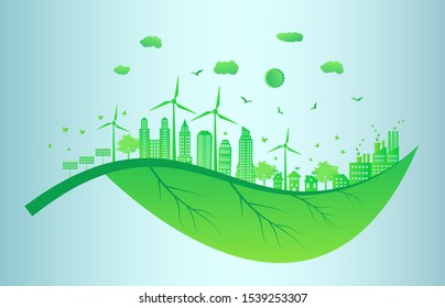 Eco friendly concept, Green city save the world.Ecology and Environmental Concept,Earth Symbol  Help The World With Eco-Friendly Ideas.Vector EPS 10.