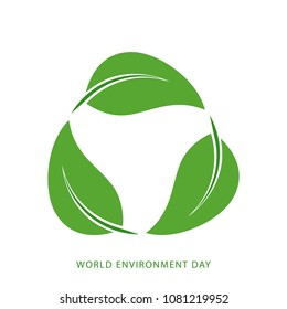Eco friendly concept with green leaves. World Environment Day, June 5. Ecology, environment, nature protection concept. Template for banner, poster, leaflet. Vector illustration