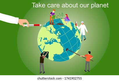 Eco friendly concept. people taking care of the environment and the earth cleaning and care. Vector illustration. Earth day concept. Save the earth.