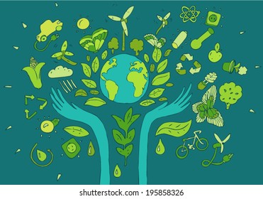 Eco friendly concept vector illustration, hand drawing