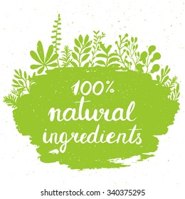 Eco friendly conceptual handwritten phrase 100% natural ingredients on green grunge stain with floral around it. For banners, posters, t-shirts, cards, stickers, advertisement.  Vector illustration