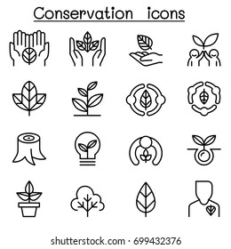 Eco friendly, Conservation icon set in thin line style